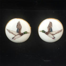 Hand Painted Silver Birds Cufflinks