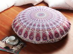 Round Mandala Printed Pom Pom Border Floor Cushion Cover