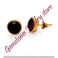 Black Onyx Gemstone Stud Earring