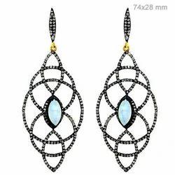 Designer Diamond Silver Earring Pair