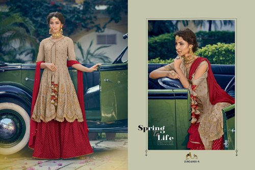 0ab786c8ea Pakistani Suits - Rangoli Georgette Semi Stitched Embroidered Sharara Suit  Manufacturer from Surat