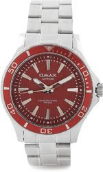 Red Dial Analog Watch For Men (Silver)
