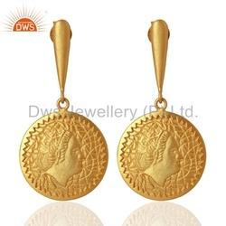 Handcrafted 925 Silver Gold Plated Drop Earrings Jewelry