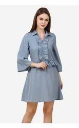 Blue Ruffles Short Dress