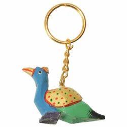Wooden Parrot Keyring