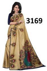 Beige Printed Silk Saree