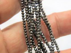 Black Moissanite Diamond Faceted Round Stone Beads