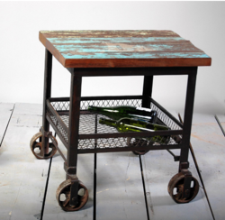 Bakers Cafe Industrial Side Table With Wooden Top