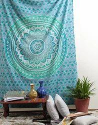 Blue Floral Print Mandala Cotton Hanging Tapestry