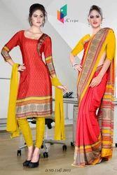 Red and Yellow Italian Crepe Uniform Saree Kurti Combo