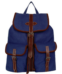 Classic Blue Canvas Backpack With Leather Trims