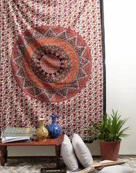 Mandala Orange Printed Decorative Wall Hanging Tapestry