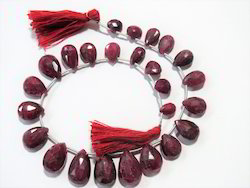 Natural Ruby Faceted Briolettes Gemstone beads