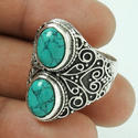 Two Stone Design Turquoise 925 Silver Silver Ring