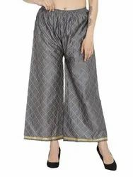 Cotton Silk Chikan Embroidery Palazzo Pants for Woman