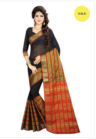 d3b5269fa Black Colored Poly Silk Printed Saree