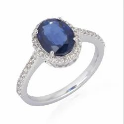 Pave Diamond Solitaire Gold Ring