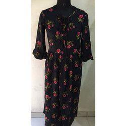 Ladies Floral Black Gown