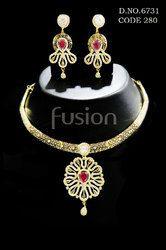 Cubic Zircon American Diamond Necklace Sets