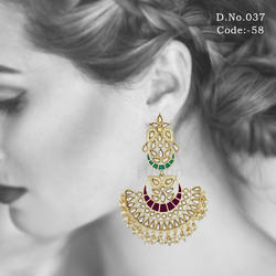Ethnic Kundan Chandbali Earrings