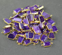 Natural Purple Agate Druzy Bezel Connectors