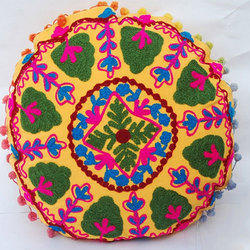 Round  Embroidered Cushion Cover