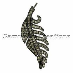 Diamond Silver Leaf Charm Pendant