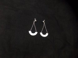 Black Druzy Round Shape Silver Plated Gemstone Earring Set
