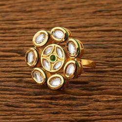Gold Plated Kundan Classic Handmade Ring 41246