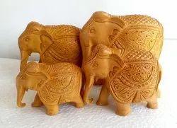 Wooden Carving Elephant Set