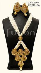Traditional Antique Pearl Polki Pendant Set