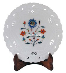 Round Marble Flower Inlay Plate