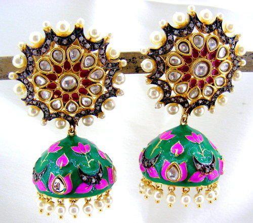 fdea4f53a Jhumki Earrings. - Designer Floral Top Enamel Oxidized CZ Pearl ...