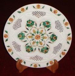 Round Lattice Marble Inlay Plate