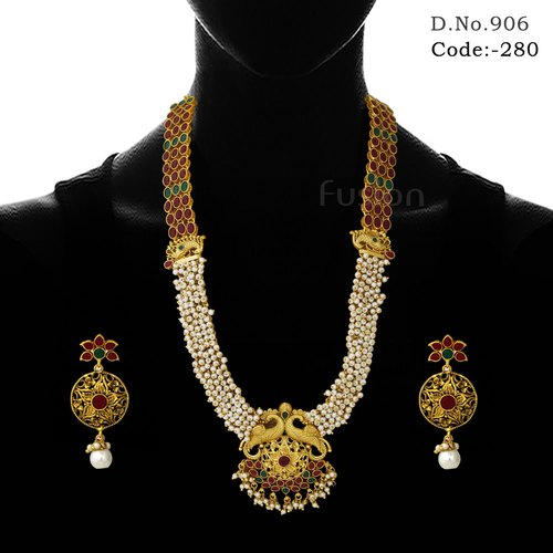 bd380e8b8b3 Temple Necklace Set - Ruby Pearl Temple Necklace Set Exporter from ...