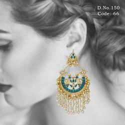 Emerald Kundan Chandelier Earrings