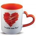 11oz Heart Handle Mug , Inner & Handle Color