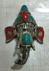 Metal Ganesha Mask With Stone Work