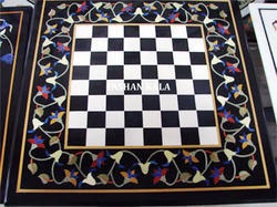 Marble Inlay Chess Table
