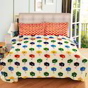Always Plus Floral Cream, Pink, Green Cotton Double Bedsheet