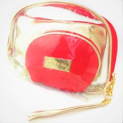 Shamax Red 3 P.C. Set Cosmetic Bag