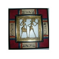 Tribal Painting With Brass Fitted Frame And Clock