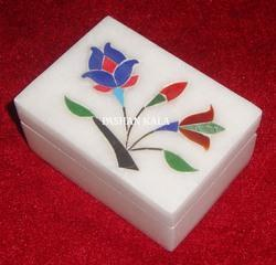Marble Box with Stone Inlay Work