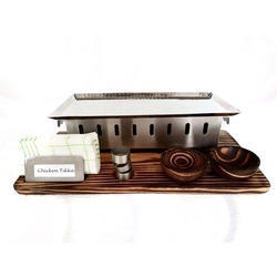 Rectangular Snacks Warmer Wooden Snack Service Set