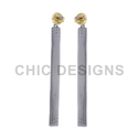 Silver Stick Pave Diamond Earring