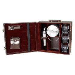 Brown - 03 with Ice Bucket Travel Mini Bar Set