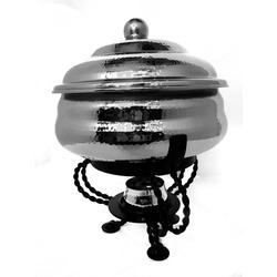 Round Hammered Kitty Party Chafer w Classic Black Stand