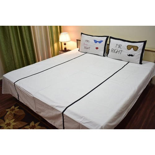 Personalized Bedsheets   King Size Mr And Mrs Double Bed Sheet Manufacturer  From Agra
