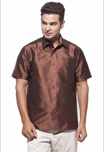 41b45bd1f56b6 Art silk Shirts - Dennis Morton Men s Brown Party Half Sleeve Art ...