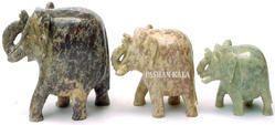 Soapstone Elephants Figure